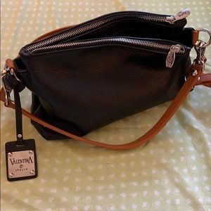 Valentina Black Leather Handbag